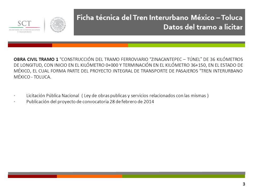 Ficha técnica del Tren Interurbano México – Toluca Datos del tramo a licitar Dirección General de Transporte Ferroviario y Multimodal 3 OBRA CIVIL TRA