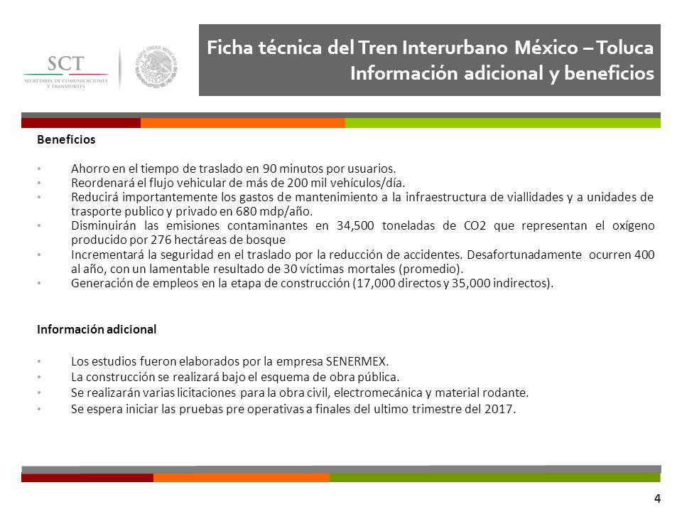 Ficha técnica del Tren Interurbano México – Toluca Información adicional y beneficios Dirección General de Transporte Ferroviario y Multimodal 4 Benef