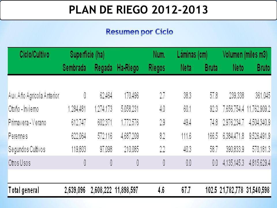 PLAN DE RIEGO 2012-2013