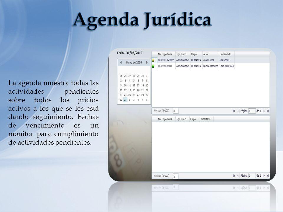 La agenda muestra todas las actividades pendientes sobre todos los juicios activos a los que se les está dando seguimiento. Fechas de vencimiento es u