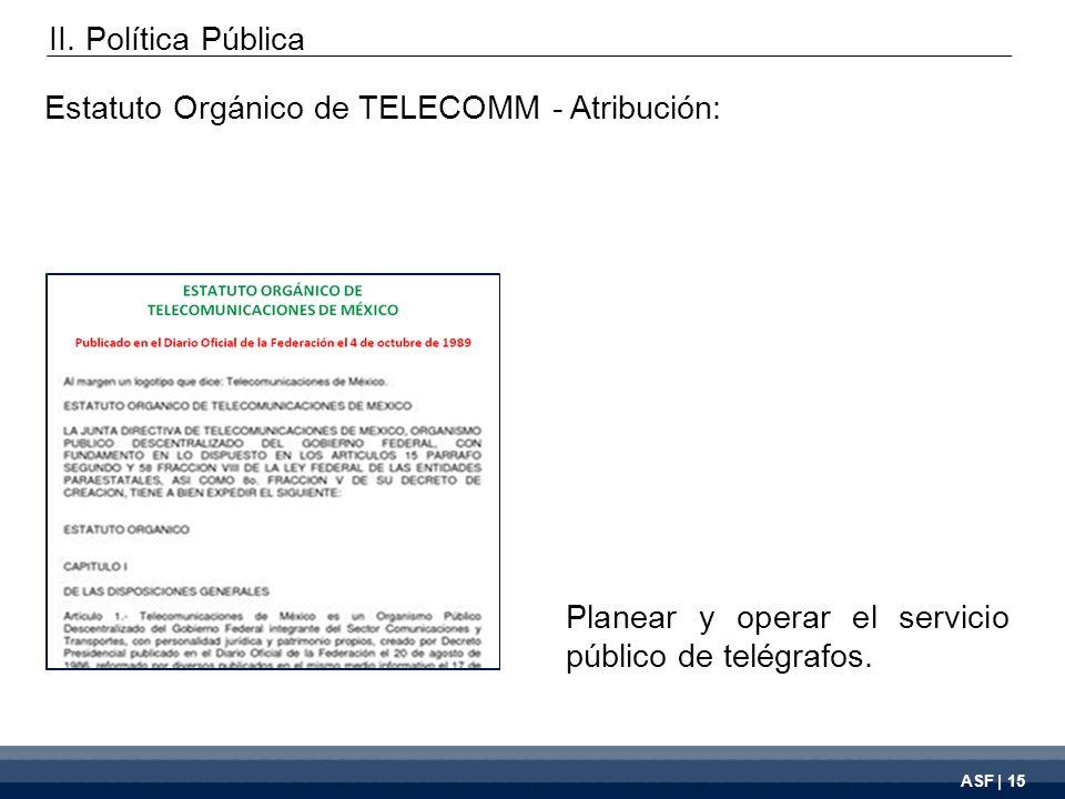 ASF | 15 Planear y operar el servicio público de telégrafos.