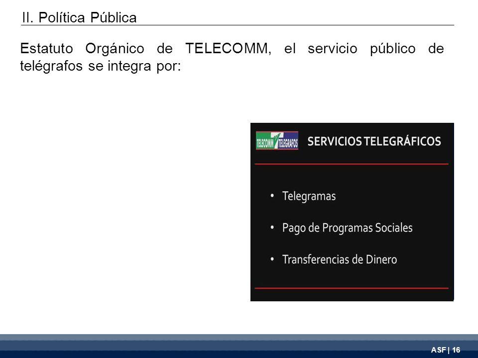 ASF | 16 Estatuto Orgánico de TELECOMM, el servicio público de telégrafos se integra por: II.