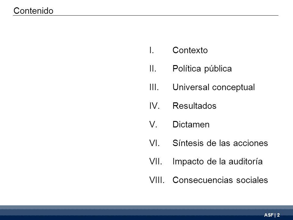 ASF | 2 I.Contexto II.Política pública III.Universal conceptual IV.Resultados V.Dictamen VI.Síntesis de las acciones VII.Impacto de la auditoría VIII.Consecuencias sociales Contenido