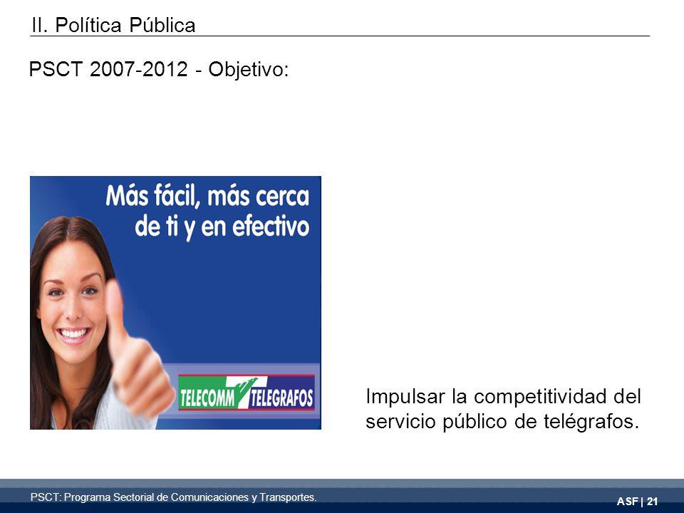 ASF | 21 PSCT 2007-2012 - Objetivo: Impulsar la competitividad del servicio público de telégrafos.