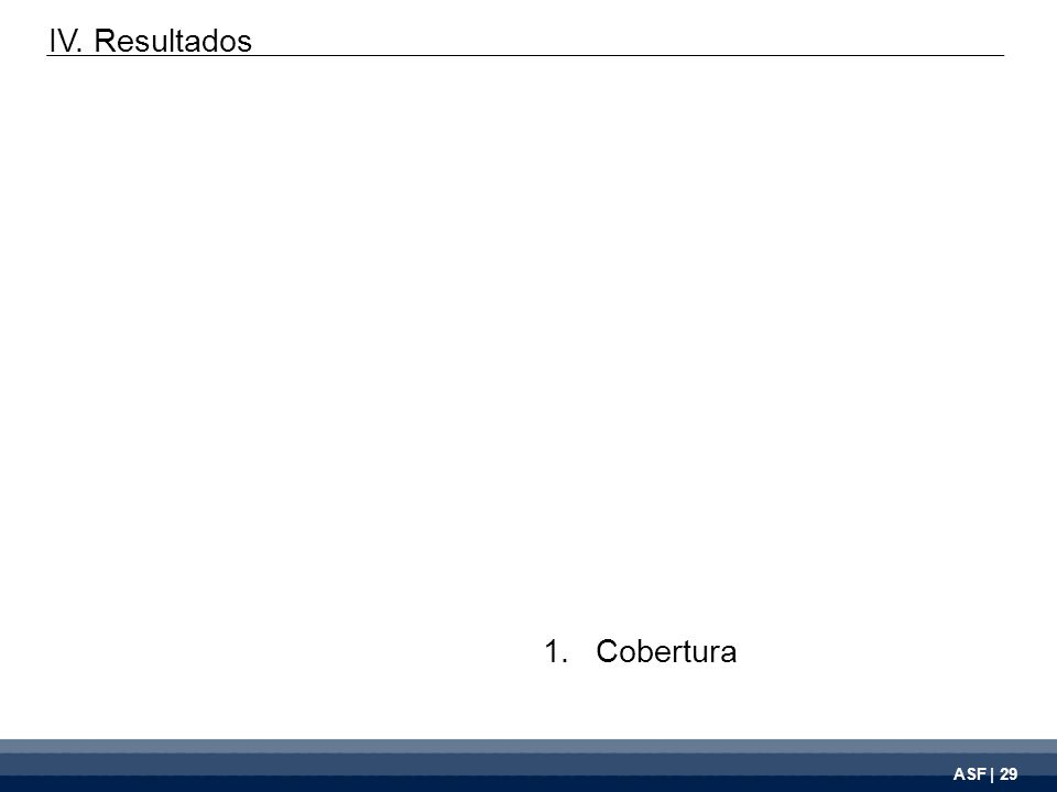 ASF | 29 1.Cobertura IV. Resultados