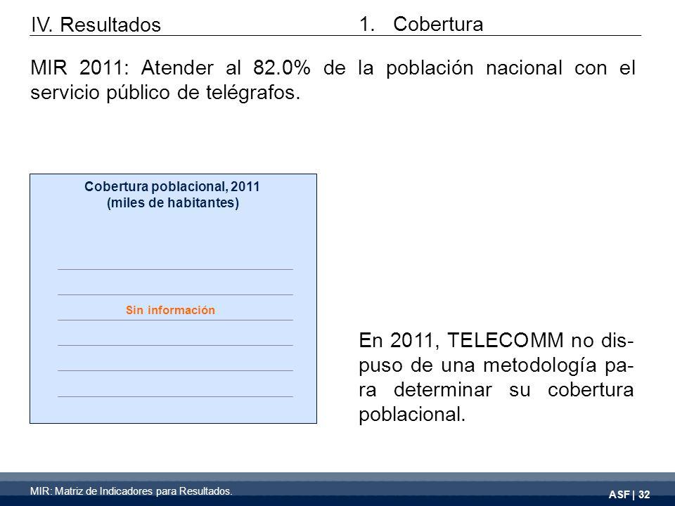 ASF | 32 En 2011, TELECOMM no dis- puso de una metodología pa- ra determinar su cobertura poblacional.