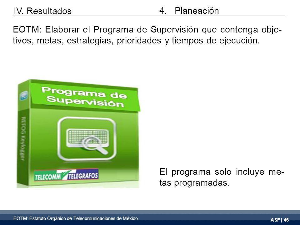 ASF | 46 El programa solo incluye me- tas programadas.