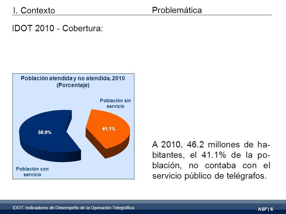 ASF | 6 A 2010, 46.2 millones de ha- bitantes, el 41.1% de la po- blación, no contaba con el servicio público de telégrafos.