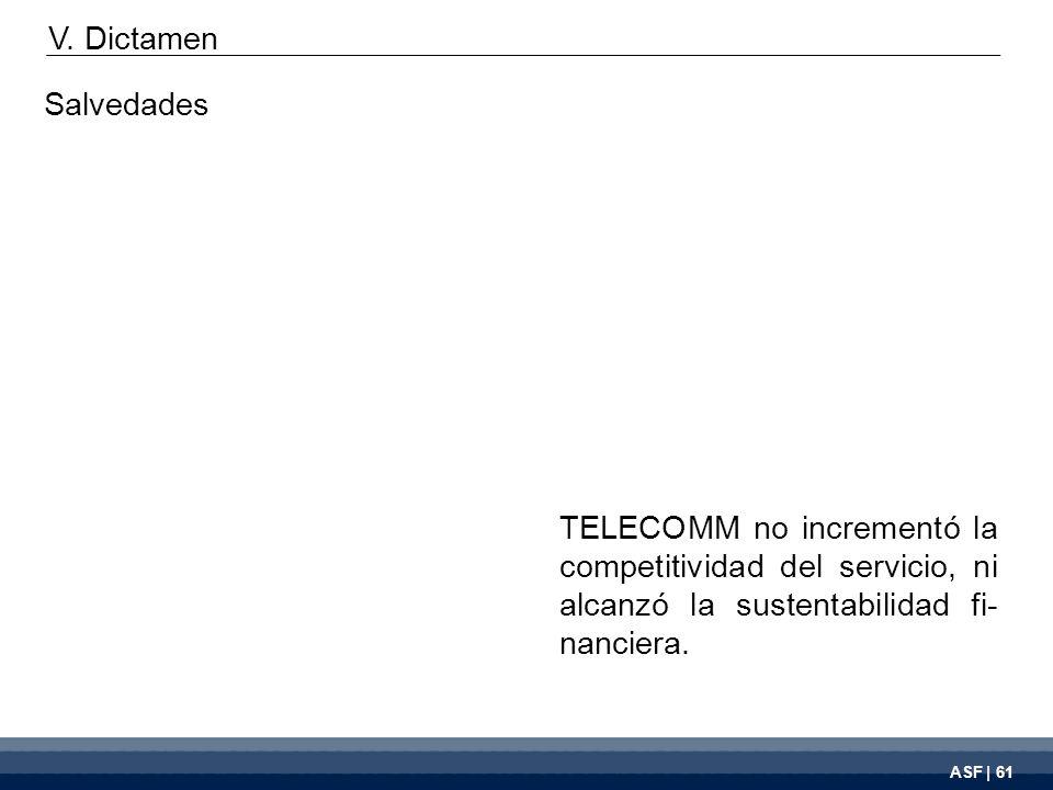 ASF | 61 TELECOMM no incrementó la competitividad del servicio, ni alcanzó la sustentabilidad fi- nanciera.