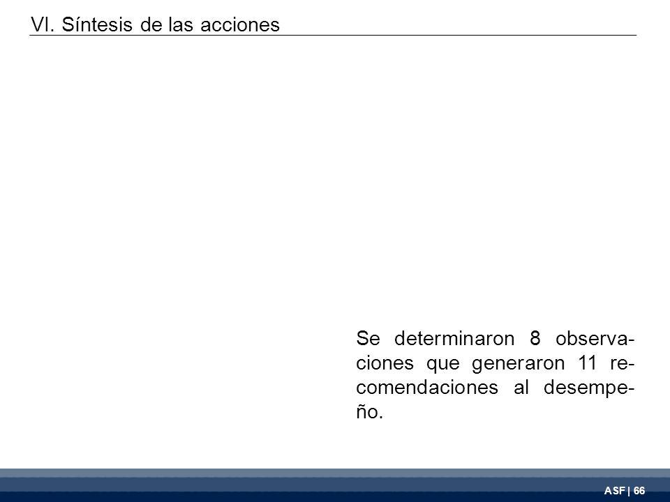 ASF | 66 Se determinaron 8 observa- ciones que generaron 11 re- comendaciones al desempe- ño. VI. Síntesis de las acciones