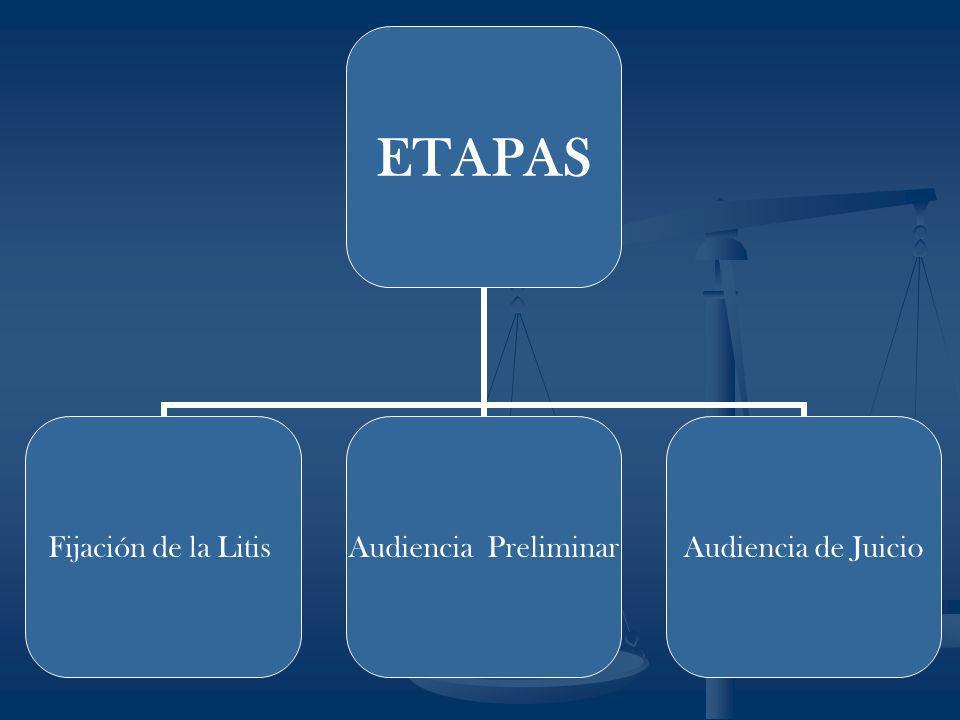 ETAPAS Fijación de la Litis Audiencia Preliminar Audiencia de Juicio