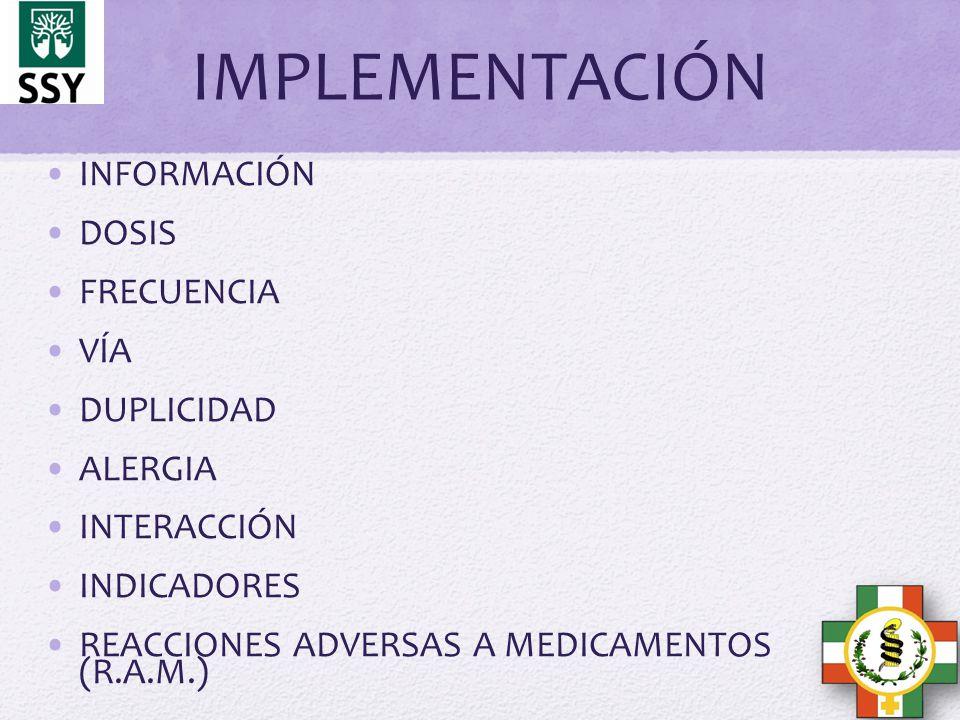IMPLEMENTACIÓN INFORMACIÓN DOSIS FRECUENCIA VÍA DUPLICIDAD ALERGIA INTERACCIÓN INDICADORES REACCIONES ADVERSAS A MEDICAMENTOS (R.A.M.)