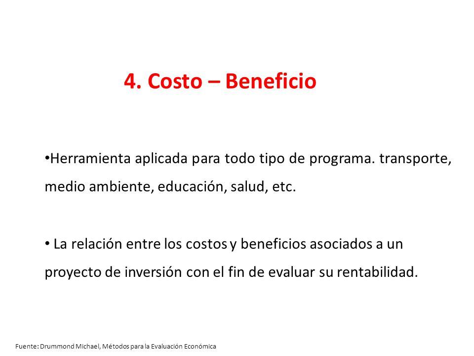 Fuente: Drummond Michael, Métodos para la Evaluación Económica 4. Costo – Beneficio Herramienta aplicada para todo tipo de programa. transporte, medio