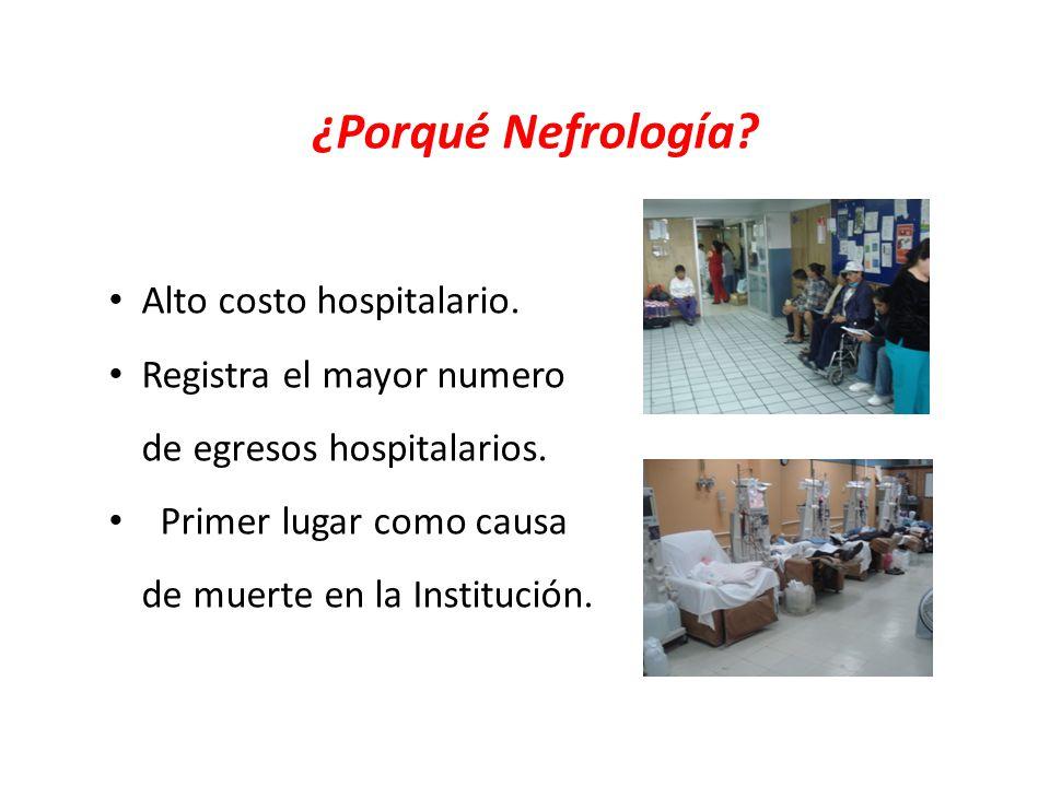 ¿Porqué Nefrología? Alto costo hospitalario. Registra el mayor numero de egresos hospitalarios. Primer lugar como causa de muerte en la Institución.