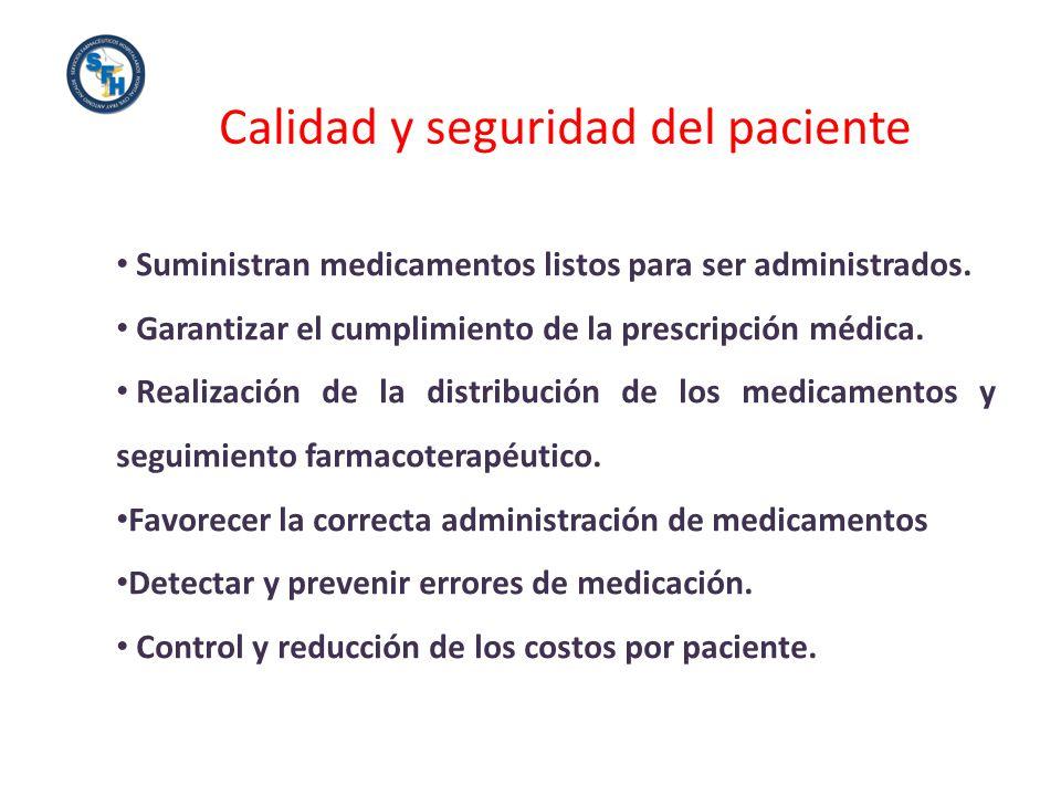 Calidad y seguridad del paciente Suministran medicamentos listos para ser administrados. Garantizar el cumplimiento de la prescripción médica. Realiza
