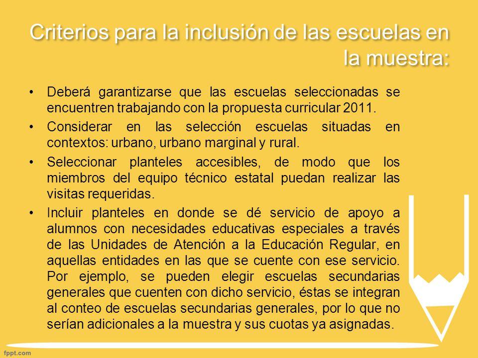 Criterios para la inclusión de las escuelas en la muestra: Deberá garantizarse que las escuelas seleccionadas se encuentren trabajando con la propuesta curricular 2011.