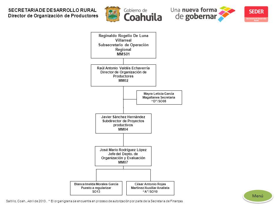 Menú Saltillo, Coah., Abril de 2013. * El organigrama se encuentra en proceso de autorización por parte de la Secretaria de Finanzas SECRETARIA DE DES