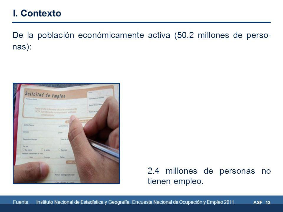 ASF 12 De la población económicamente activa (50.2 millones de perso- nas): 2.4 millones de personas no tienen empleo.