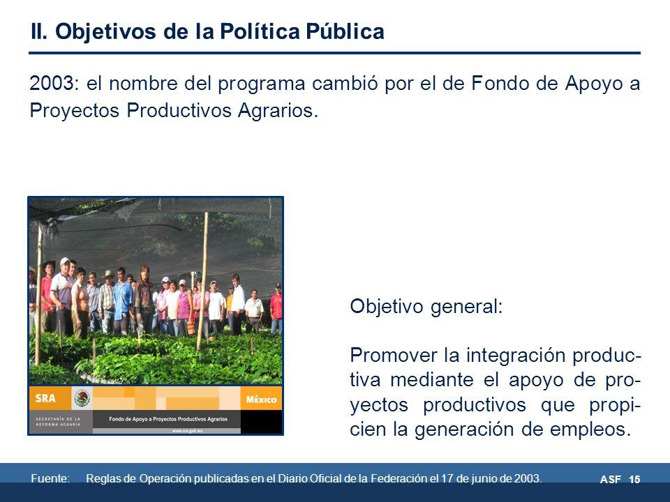 ASF 15 2003: el nombre del programa cambió por el de Fondo de Apoyo a Proyectos Productivos Agrarios.