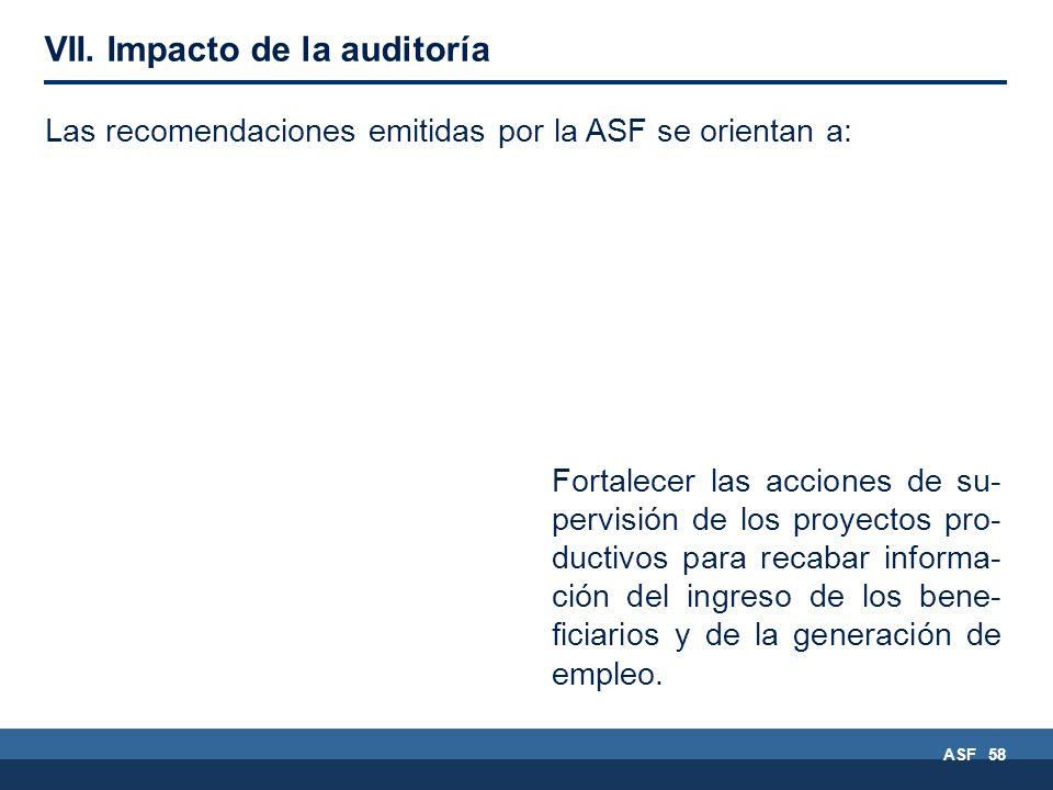 ASF 58 Fortalecer las acciones de su- pervisión de los proyectos pro- ductivos para recabar informa- ción del ingreso de los bene- ficiarios y de la generación de empleo.