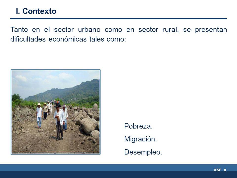 ASF 8 Tanto en el sector urbano como en sector rural, se presentan dificultades económicas tales como: Pobreza.