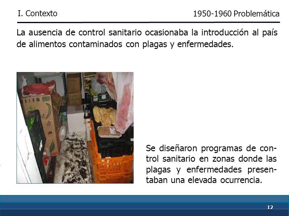 1111 El código sanitario no consideraba medidas para la prevención o erradicación de plagas y enfermedades para el sector agro- pecuario. No se tenía