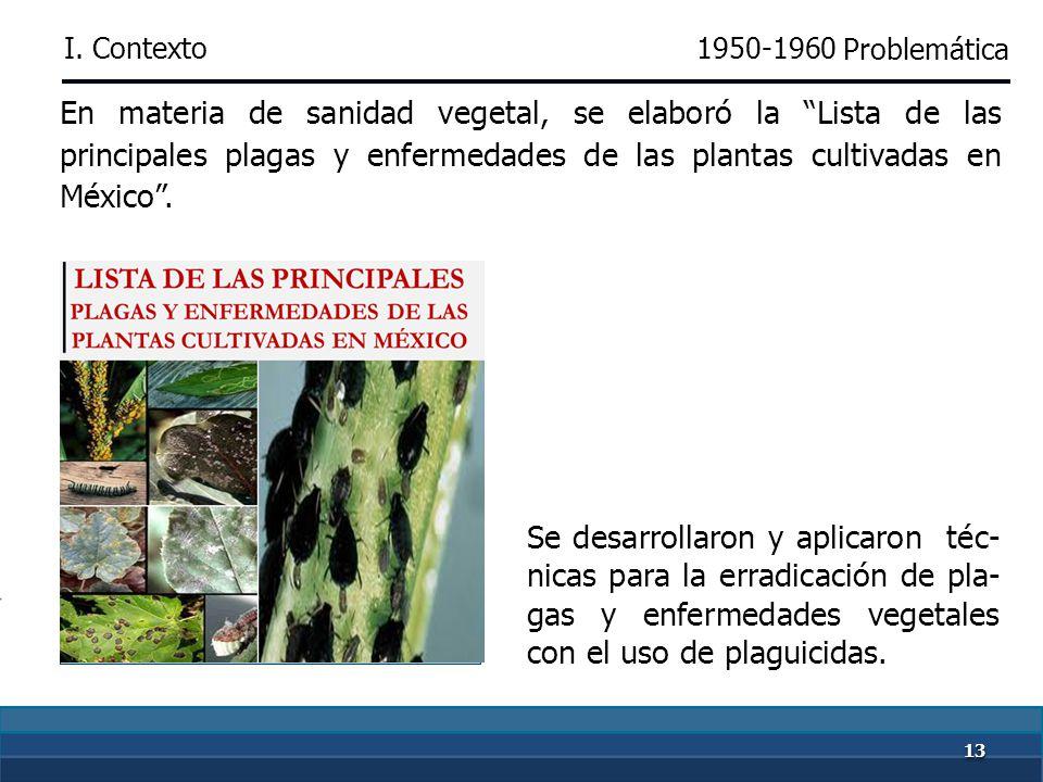 1212 La ausencia de control sanitario ocasionaba la introducción al país de alimentos contaminados con plagas y enfermedades. 1950-1960 Se diseñaron p