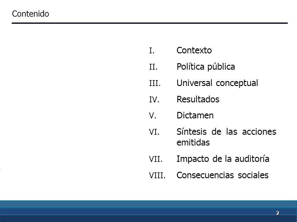 22 I.Contexto II. Política pública III. Universal conceptual IV.