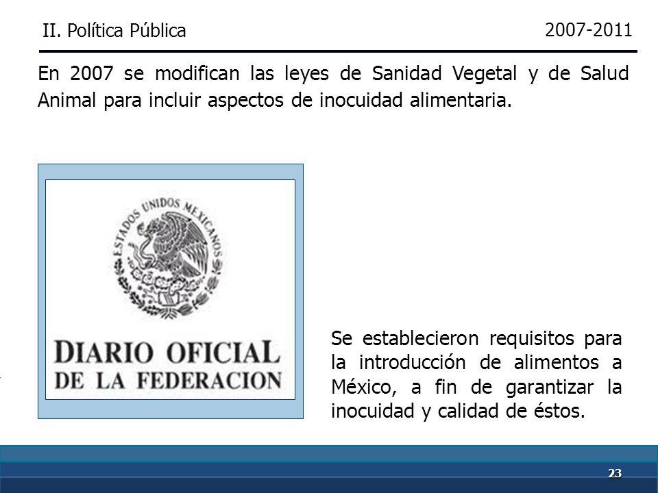 2222 2001-2006 En 2001, con nuevas atribuciones referentes a la inocuidad en los alimentos, la Comisión se transforma en el SENASICA, que diseñó y ope