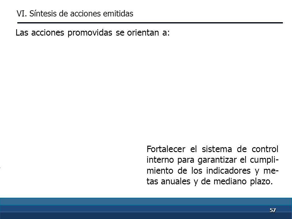 5656 Establecer criterios para progra- mar metas. Las acciones promovidas se orientan a: VI. Síntesis de acciones emitidas