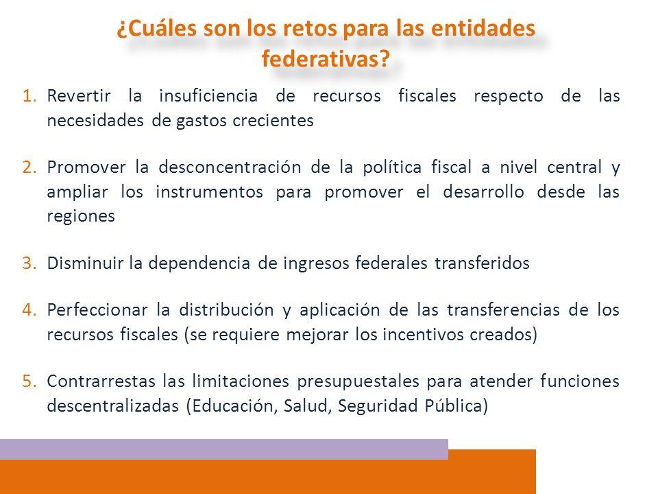 1.Revertir la insuficiencia de recursos fiscales respecto de las necesidades de gastos crecientes 2.Promover la desconcentración de la política fiscal