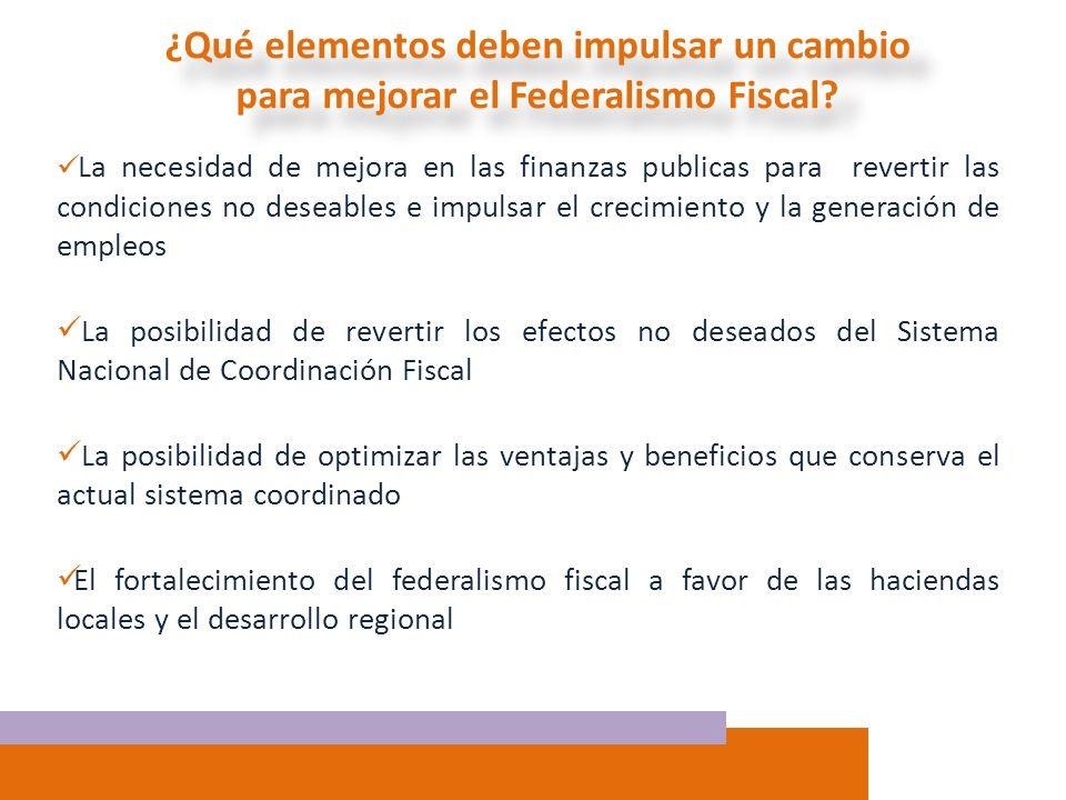 ¿Qué elementos deben impulsar un cambio para mejorar el Federalismo Fiscal? La necesidad de mejora en las finanzas publicas para revertir las condicio