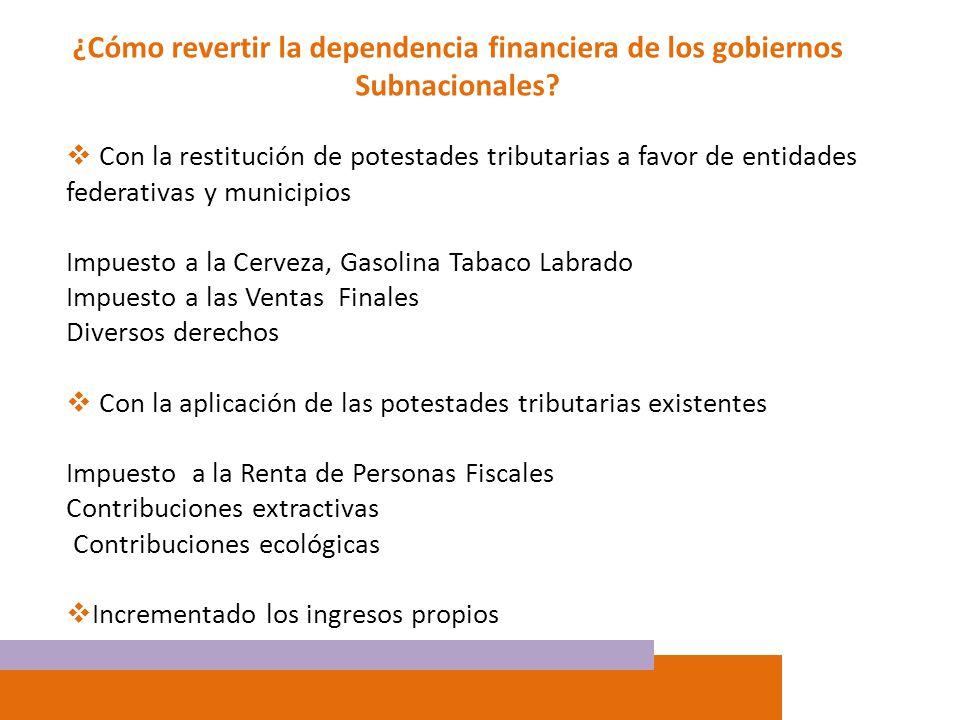 ¿Cómo revertir la dependencia financiera de los gobiernos Subnacionales? Con la restitución de potestades tributarias a favor de entidades federativas