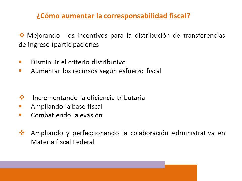 ¿Cómo aumentar la corresponsabilidad fiscal? Mejorando los incentivos para la distribución de transferencias de ingreso (participaciones Disminuir el
