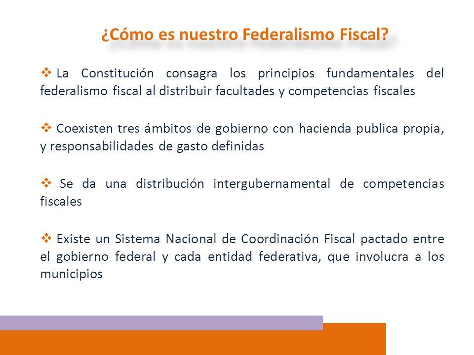 ¿Cómo es nuestro Federalismo Fiscal? La Constitución consagra los principios fundamentales del federalismo fiscal al distribuir facultades y competenc