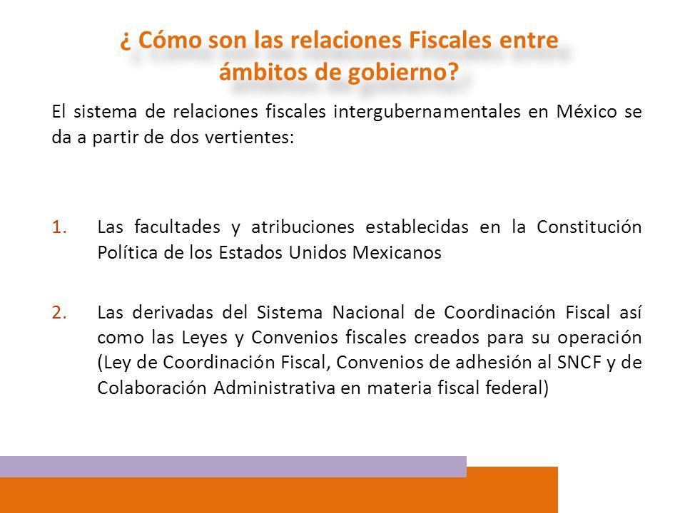 El sistema de relaciones fiscales intergubernamentales en México se da a partir de dos vertientes: 1.Las facultades y atribuciones establecidas en la
