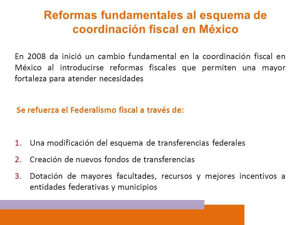 En 2008 da inició un cambio fundamental en la coordinación fiscal en México al introducirse reformas fiscales que permiten una mayor fortaleza para at