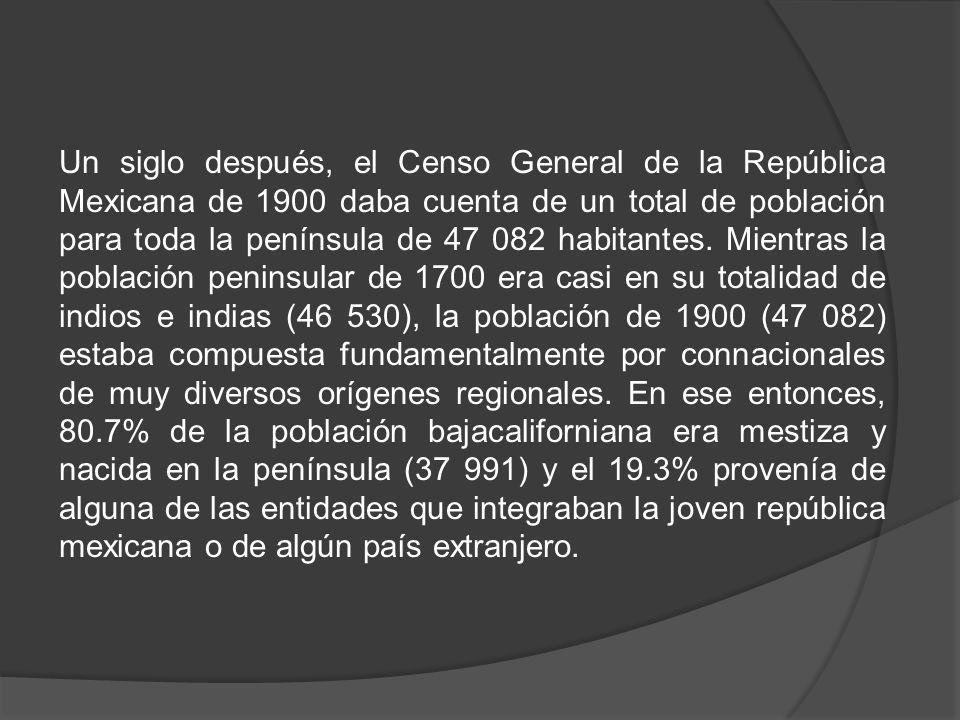 Un siglo después, el Censo General de la República Mexicana de 1900 daba cuenta de un total de población para toda la península de 47 082 habitantes.