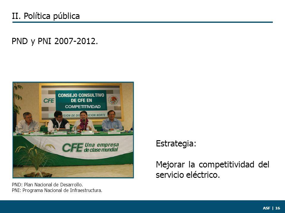 ASF | 16 PND y PNI 2007-2012. Estrategia: Mejorar la competitividad del servicio eléctrico.