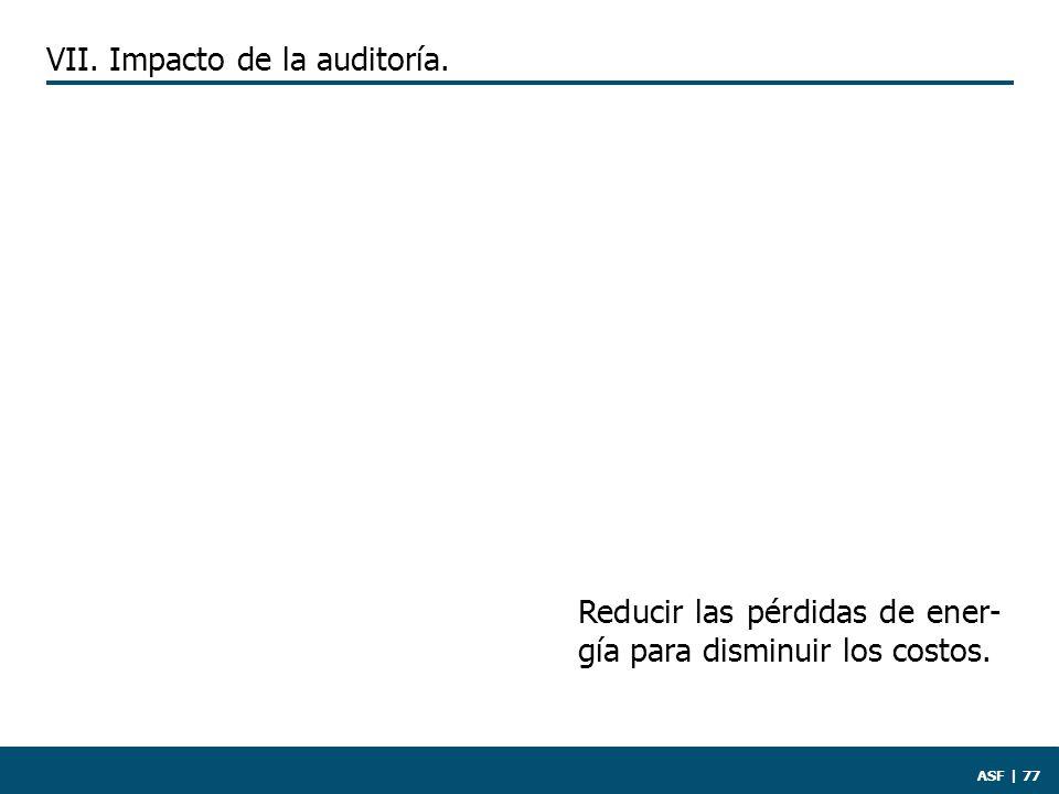 ASF | 77 Reducir las pérdidas de ener- gía para disminuir los costos. VII. Impacto de la auditoría.