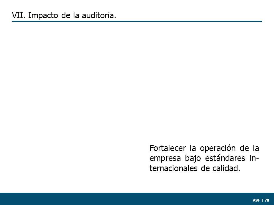 ASF | 78 Fortalecer la operación de la empresa bajo estándares in- ternacionales de calidad.