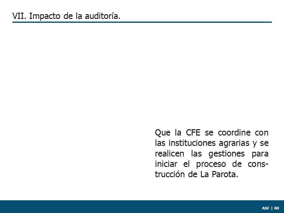 ASF | 80 Que la CFE se coordine con las instituciones agrarias y se realicen las gestiones para iniciar el proceso de cons- trucción de La Parota.