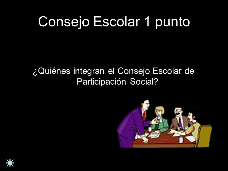 Consejo Escolar 1 punto ¿Quiénes integran el Consejo Escolar de Participación Social?