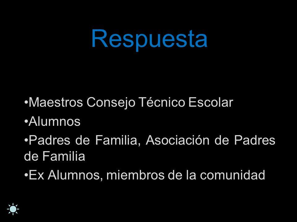 Respuesta Maestros Consejo Técnico Escolar Alumnos Padres de Familia, Asociación de Padres de Familia Ex Alumnos, miembros de la comunidad