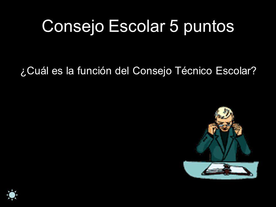 Consejo Escolar 5 puntos ¿Cuál es la función del Consejo Técnico Escolar?
