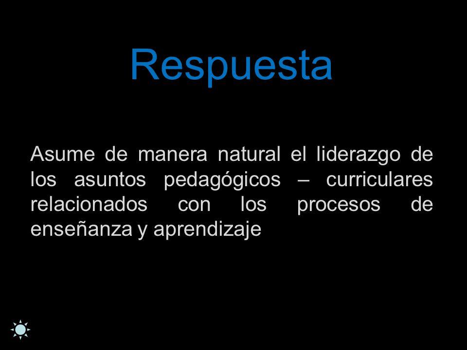 Respuesta Asume de manera natural el liderazgo de los asuntos pedagógicos – curriculares relacionados con los procesos de enseñanza y aprendizaje