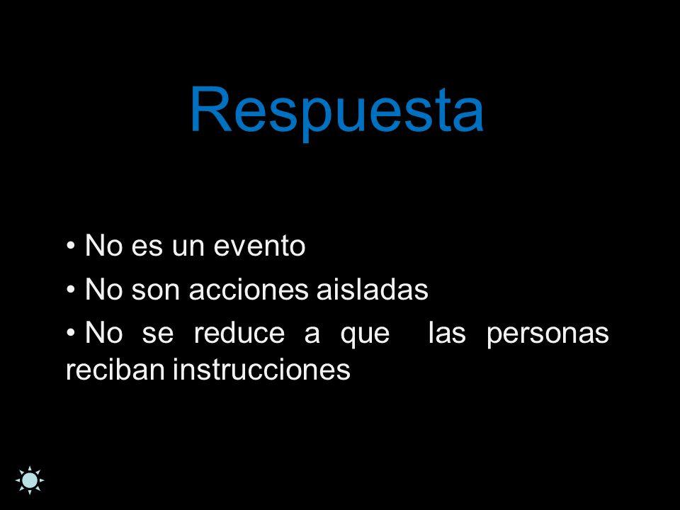 Respuesta No es un evento No son acciones aisladas No se reduce a que las personas reciban instrucciones