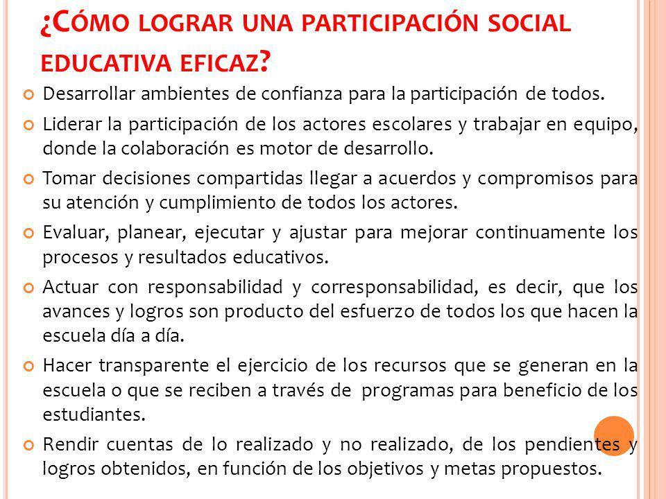 ¿C ÓMO IMPACTA LA PARTICIPACIÓN SOCIAL EN LA ESCUELA .