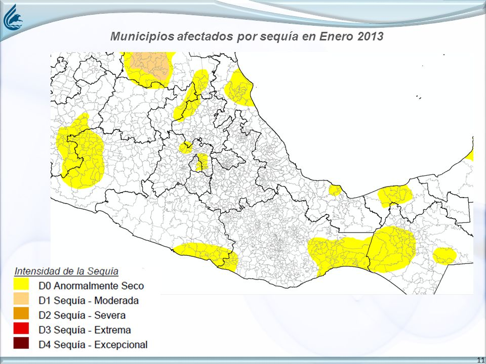 11 Municipios afectados por sequía en Enero 2013