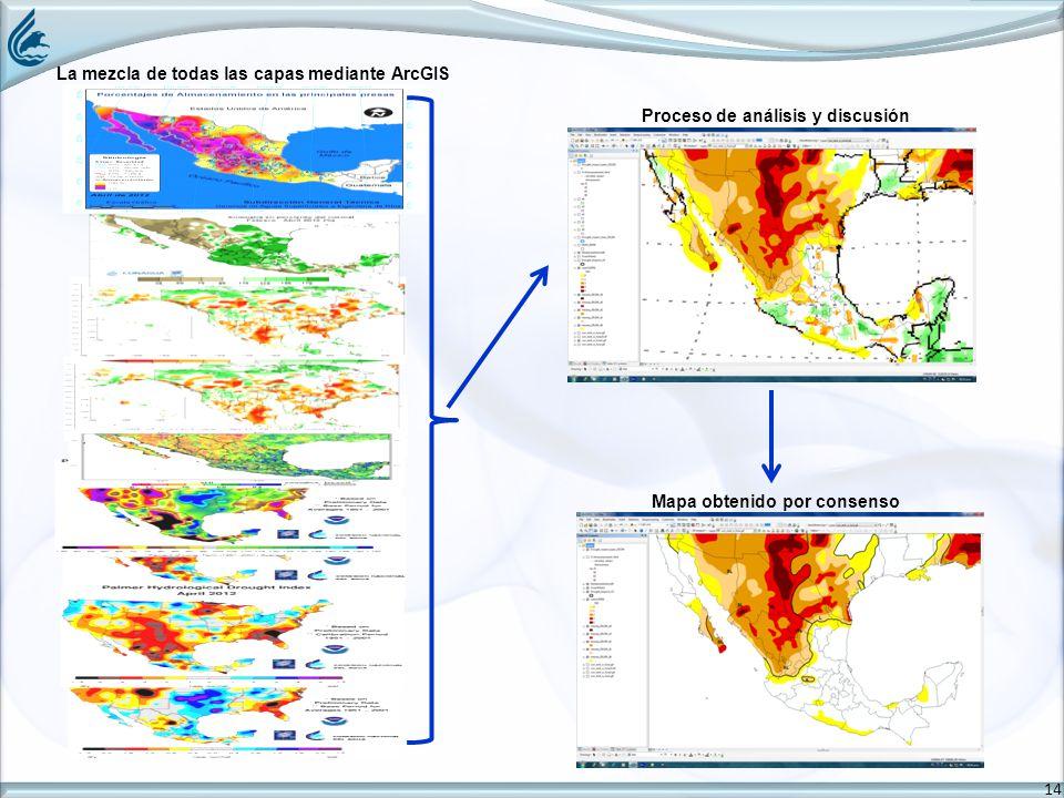 14 La mezcla de todas las capas mediante ArcGIS Proceso de análisis y discusión Mapa obtenido por consenso